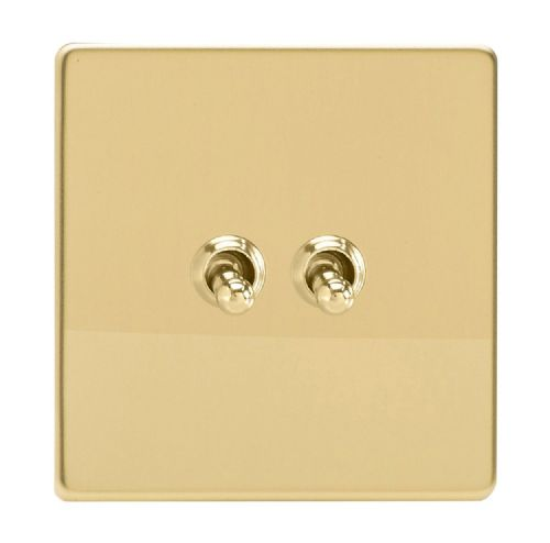 Varilight XDVT2S Screwless Polished Brass 2 Gang 10A 1 or 2 Way Toggle Light Switch